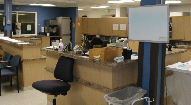 Custom medical office cabinets in a nurse station